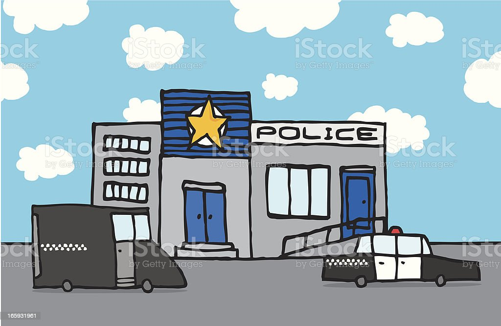 Cartoon police station vector art illustration