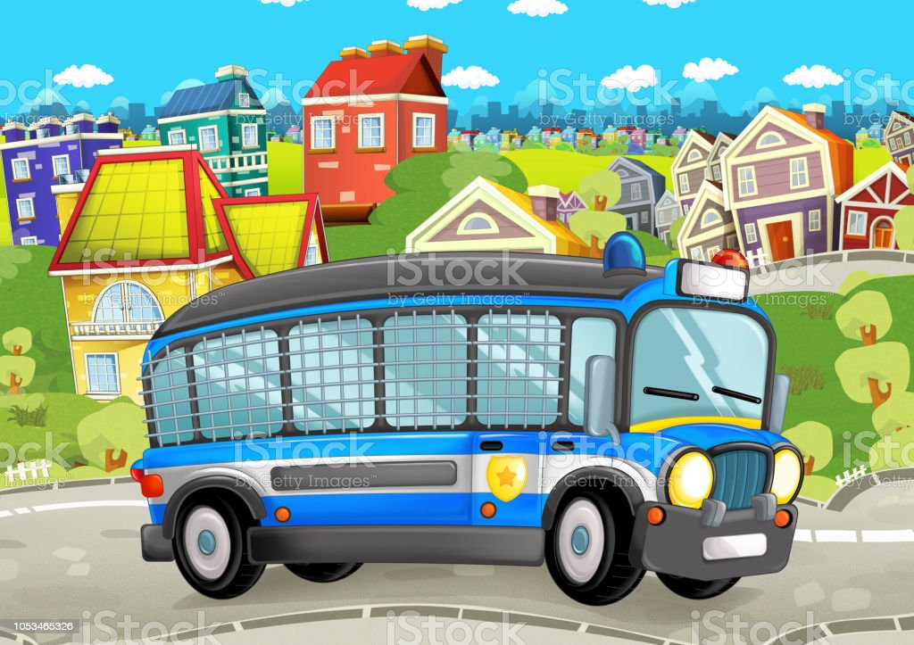 cartoon police vehicle on the urban road vector art illustration