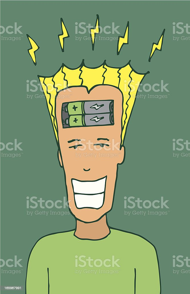 Cartoon positive thinking / Electric mind royalty-free cartoon positive thinking electric mind stock vector art & more images of battery
