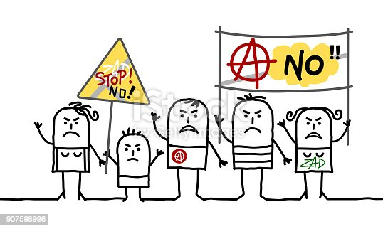 Cartoon Protesting Anarchist People