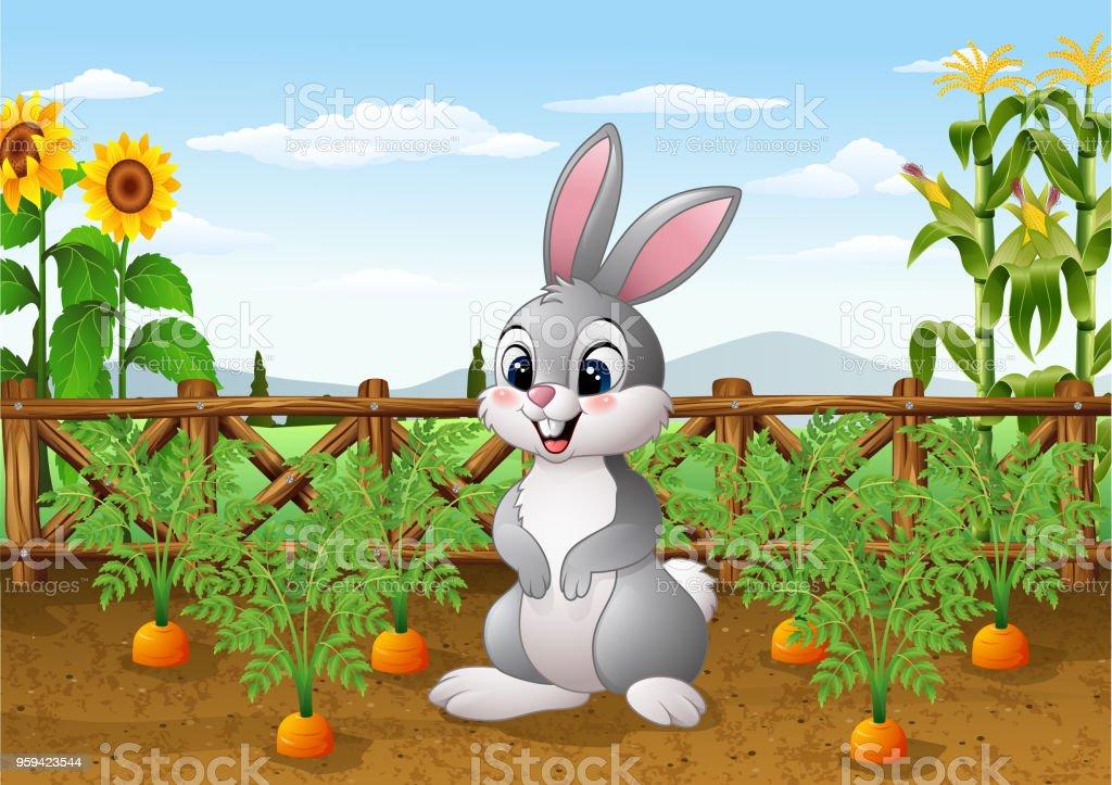 Ilustración De Conejo De Dibujos Animados Con La Planta