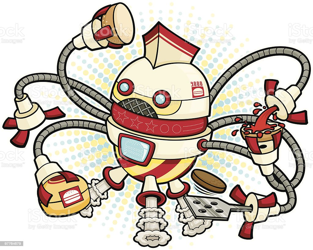 Cartoon Robot Burger Flipper royalty-free cartoon robot burger flipper stock vector art & more images of animal fin