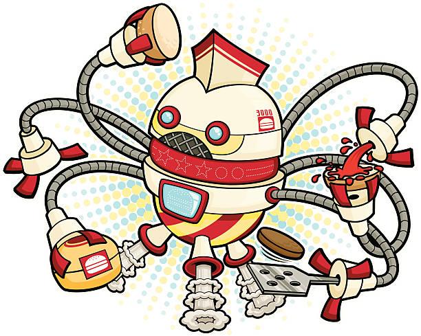 ilustrações de stock, clip art, desenhos animados e ícones de robot burger flipper - exhaust white background