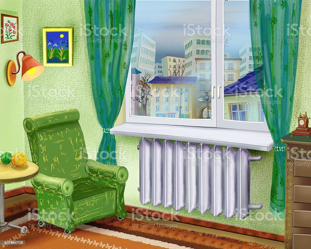 カットイラストお部屋のインテリアにはアームチェアを窓際近く