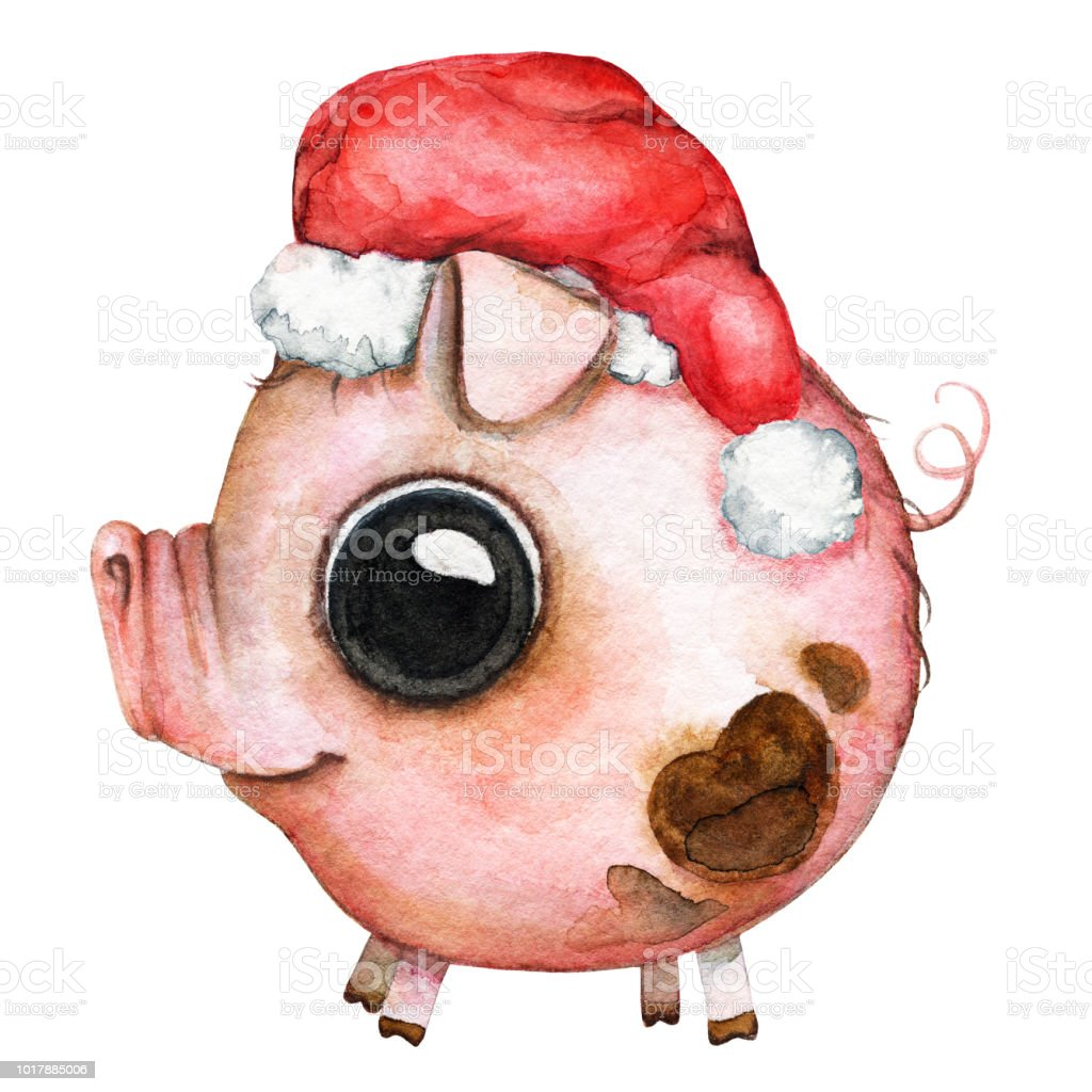 Cartoon round baby pig in a Santa Claus hat vector art illustration