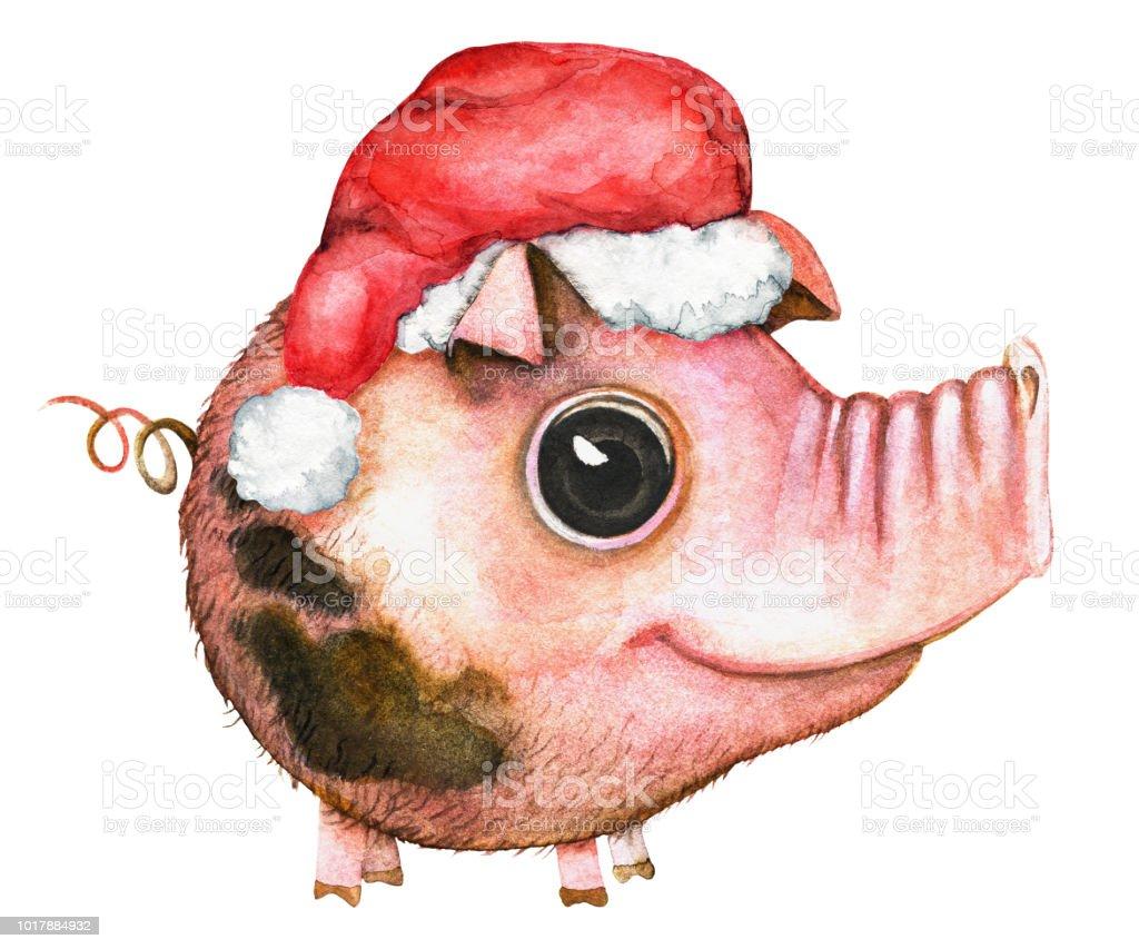 Cartoon round daddy pig in a Santa Claus hat vector art illustration