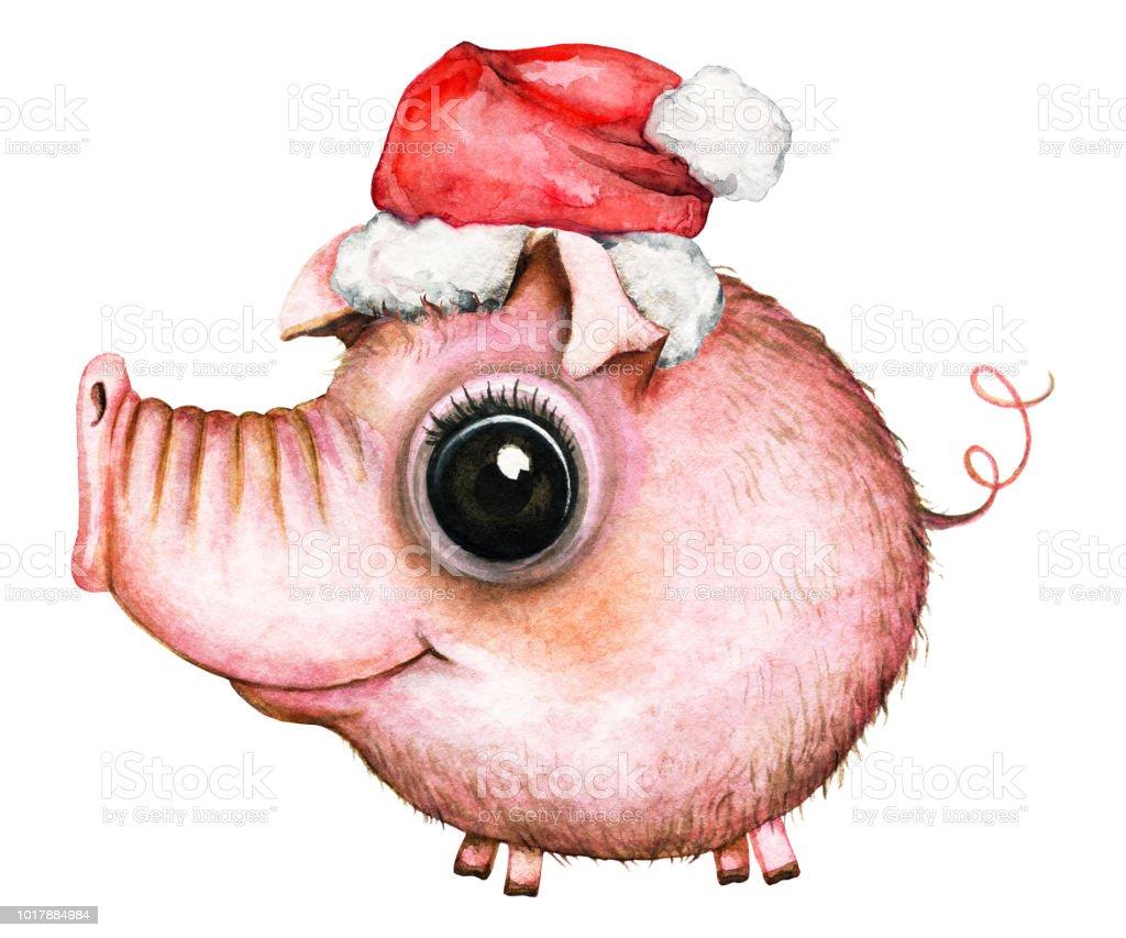 Cartoon round mommy pig in a Santa Claus hat vector art illustration