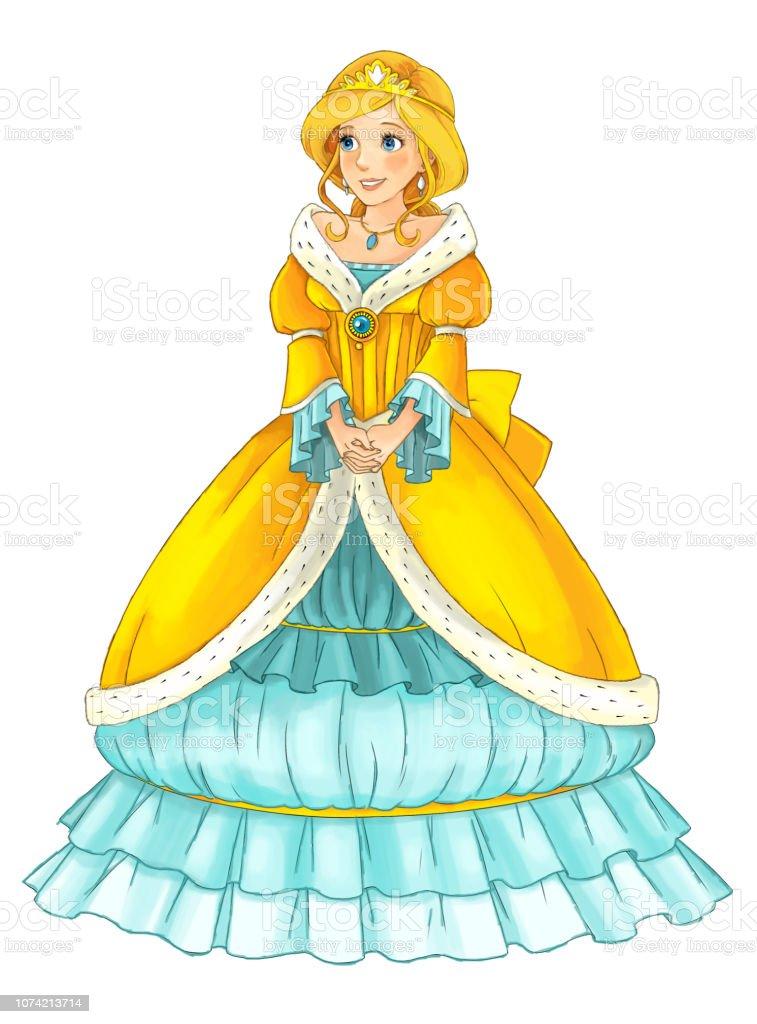 Vetores De Cena Dos Desenhos Animados Com Bela Princesa Em Fundo
