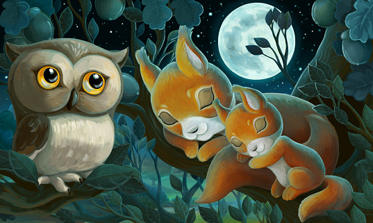 Cartoon scene with family of squirrels and owl in the forest - illustration for children