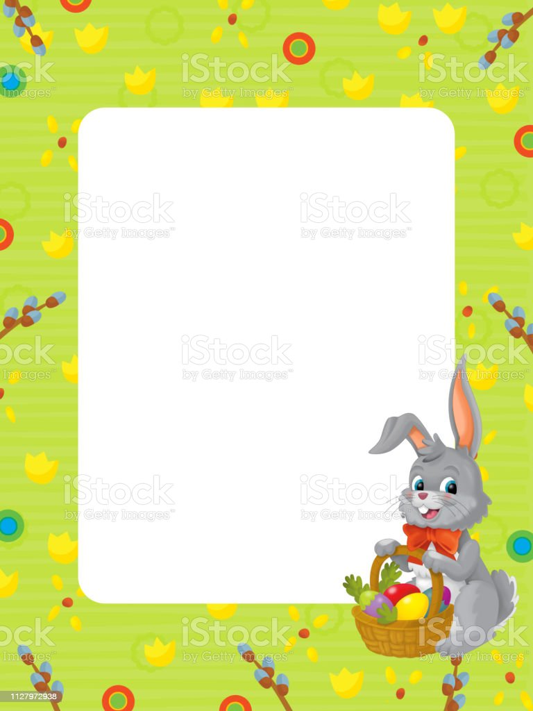 ceb2ab0229c1de cartoon scene with kid easter bunny painting with frame on white background  royalty-free cartoon