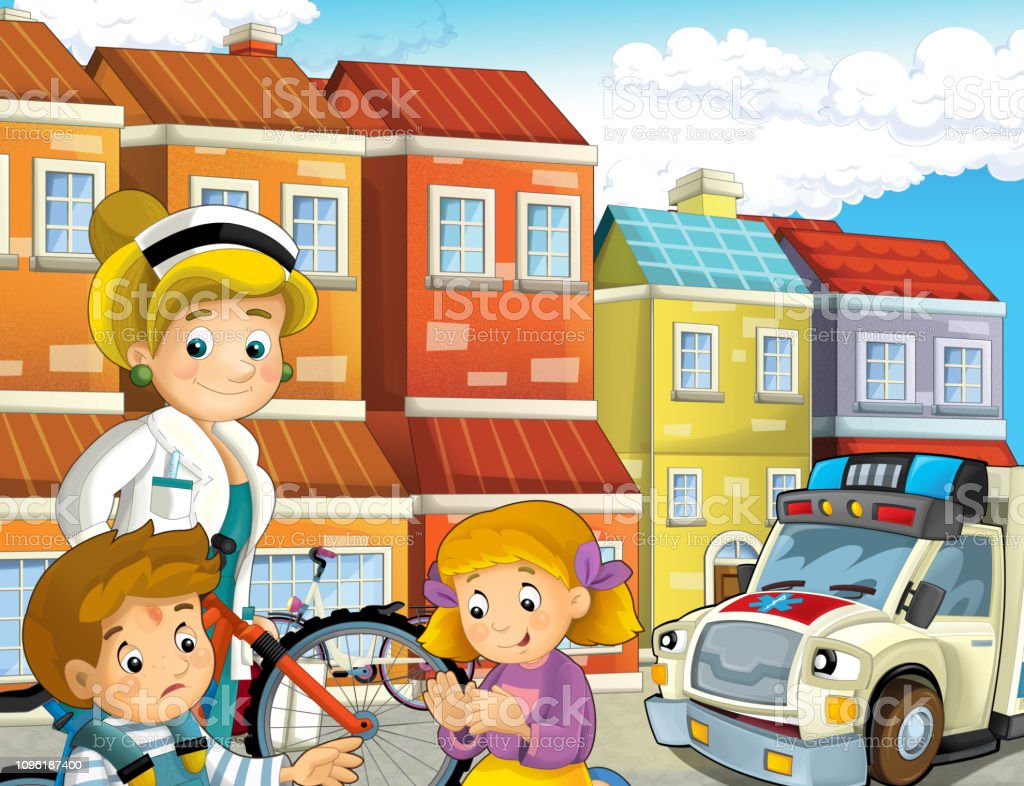 Cartoon Scene With Kids After Bicycle Accident And Ambulance And Doctor Coming To Help Stock Vector Art More Images Of Accidents And Disasters
