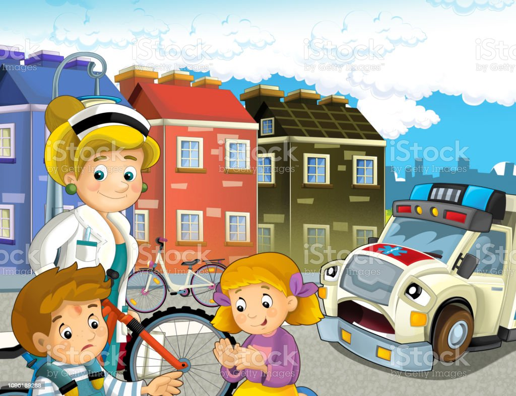 Cartoon Scene With Kids After Bicycle Accident And Ambulance And