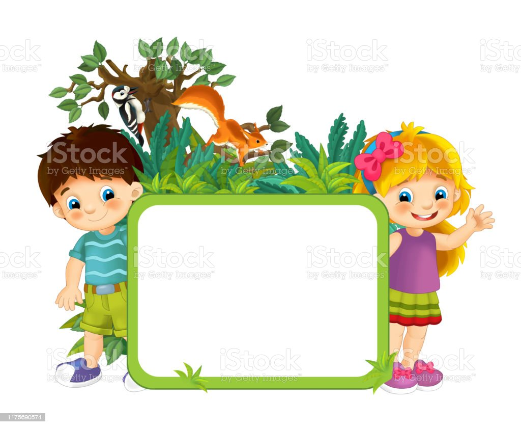 cartoon scene with nature frame kids and animals stock illustration download image now istock cartoon scene with nature frame kids and animals stock illustration download image now istock