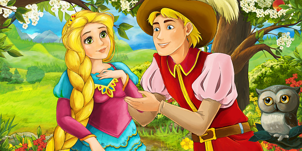 cartoon scene with owl with prince and princess in the farm orchard on the journey illustration