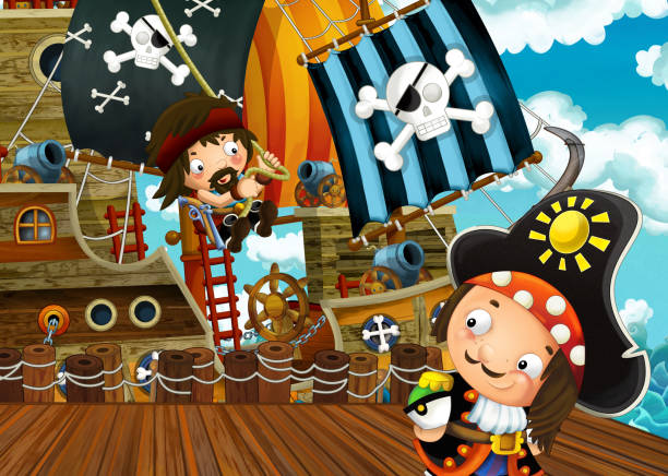cartoon scene with pirate sailing ship docking - treasure map backgrounds stock illustrations