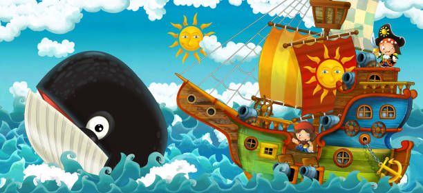 cartoon scene with pirate ship sailing through the seas with happy pirates meeting swimming whale - treasure map backgrounds stock illustrations