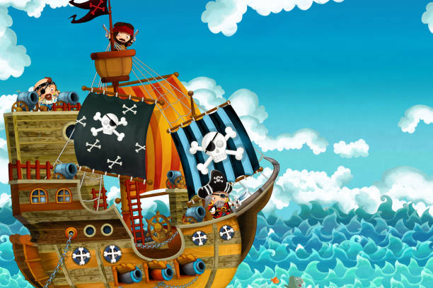 cartoon scene with pirate ship sailing through the seas with scary pirates - deck is burning during battle - treasure map backgrounds stock illustrations