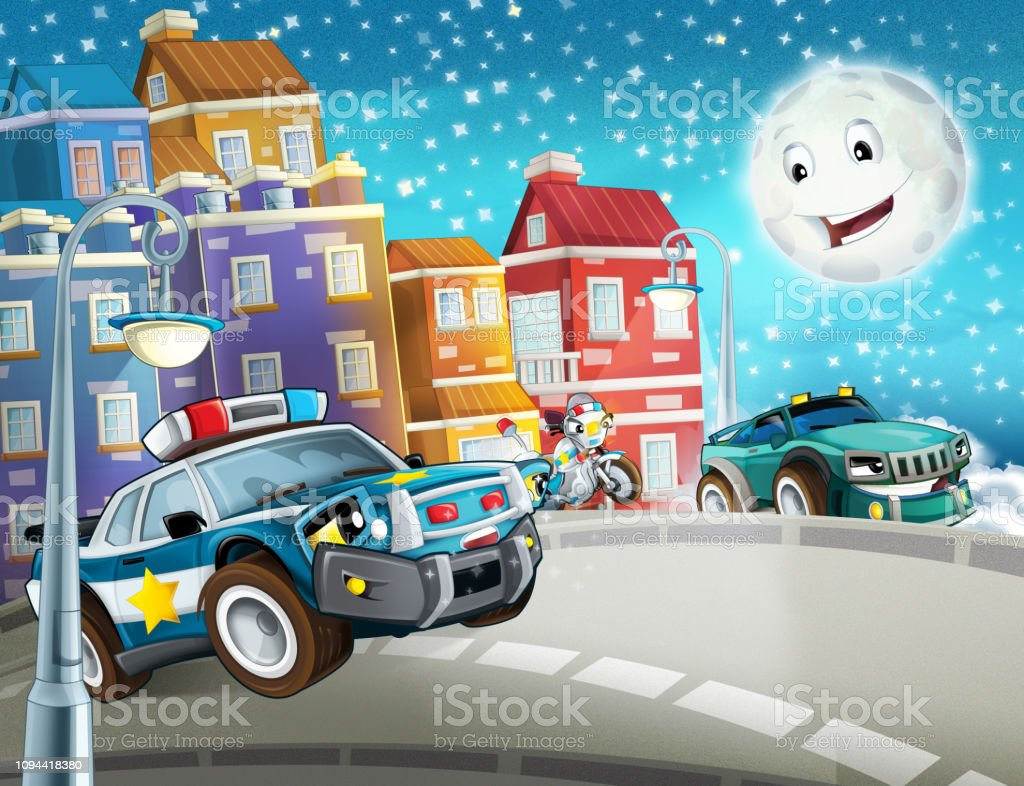 Cartoon Scene With Police Chase Motorcycle And Car Driving