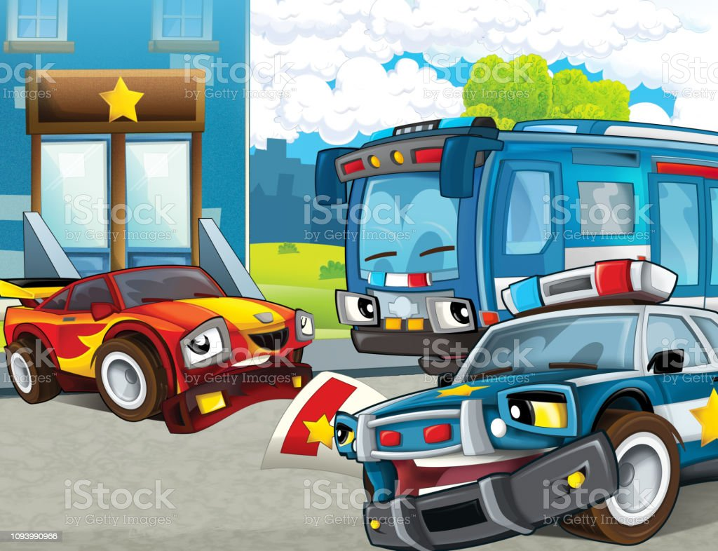 Cartoon Scene With Police Chase Motorcycle Car And Bus