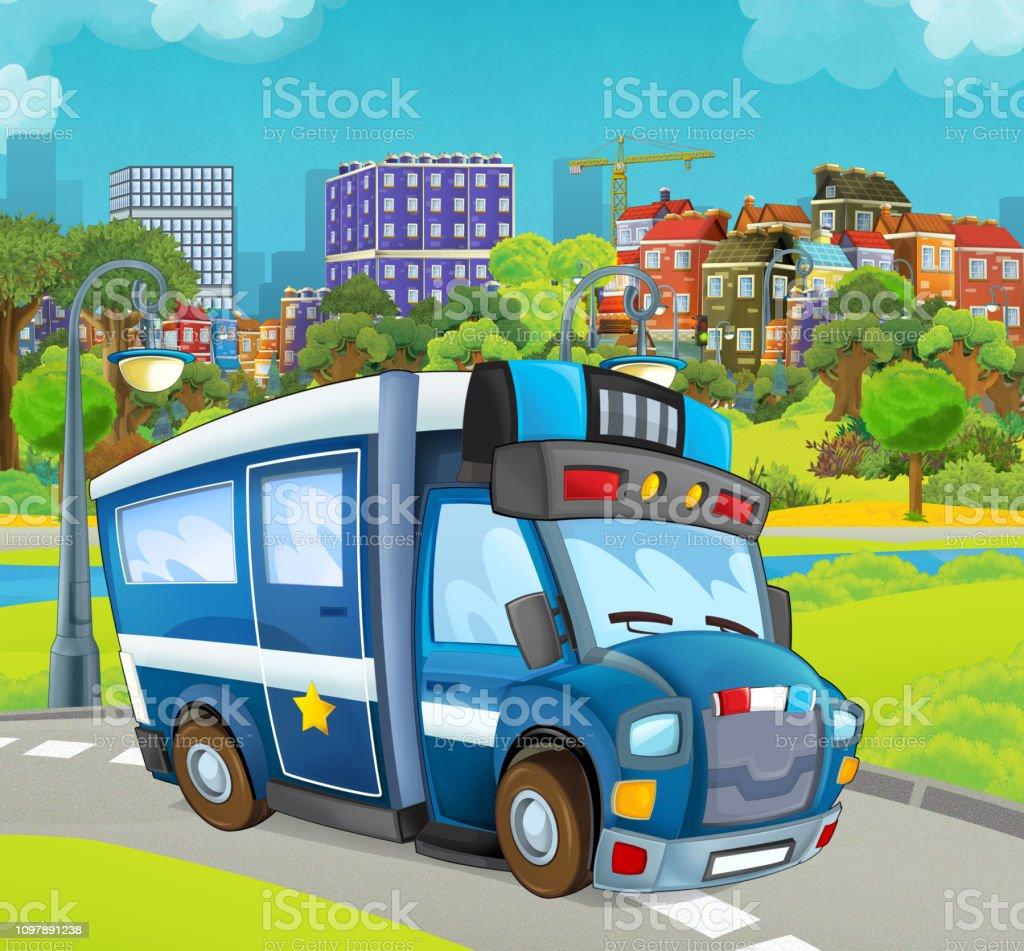 Scene De Dessin Anime Avec Camion De Police Sur La Rue Vecteurs
