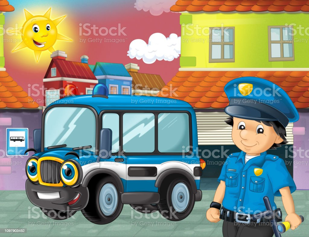 Scene De Dessin Anime Avec Policier Et Camion De Police Dans La