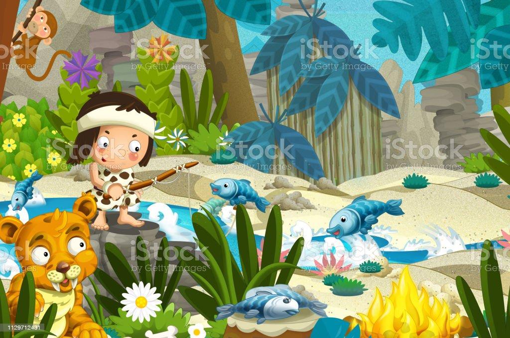 Vetores De Cena Dos Desenhos Animados Com Os Pescadores