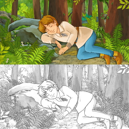 cartoon scene with sketch with happy young boy child prince or farmer in the forest traveling during day - illustration