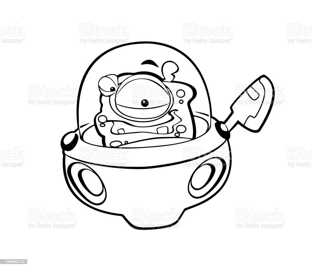 Cizgi Film Sahne Bazi Komik Gorunumlu Uzayli Uzayli Makinesinde