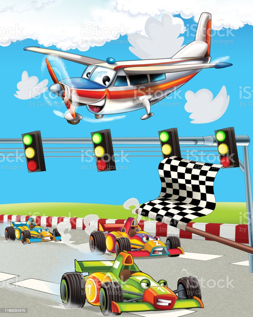Cartoon Scene With Super Car Racing And Observing Plane Is Flying