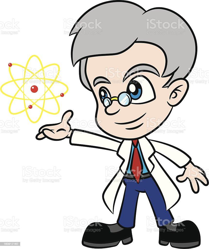 Dessin scientifique présentant Atome - clipart vectoriel de Professeur d'université libre de droits