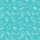 Cartoon seamless pattern with sea animals
