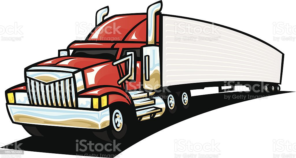 cartoon semi truck stock vector art more images of cartoon rh istockphoto com semi truck vector art semi truck vector clip art