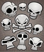 A collection of vector cartoon skulls in various styles. High-resolution PSD and JPG files included along with Illustrator AI and EPS files.