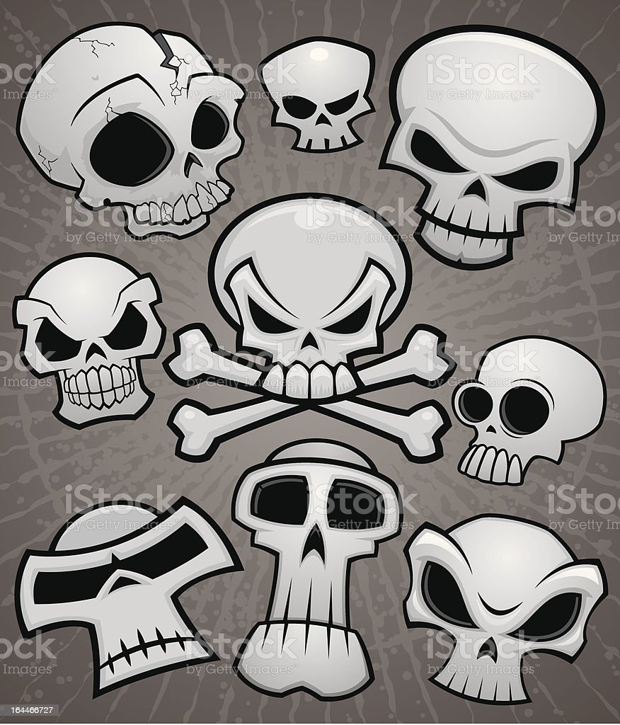 Cartoon Skull Collection vector art illustration