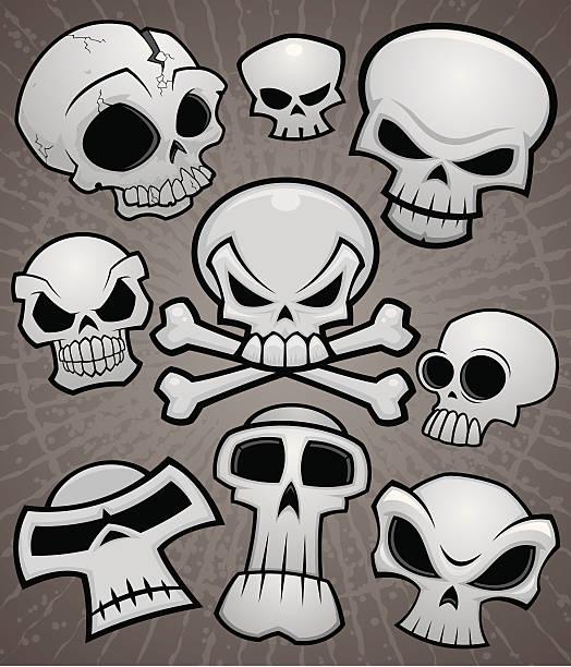 Cartoon Skull Collection vector art illustration