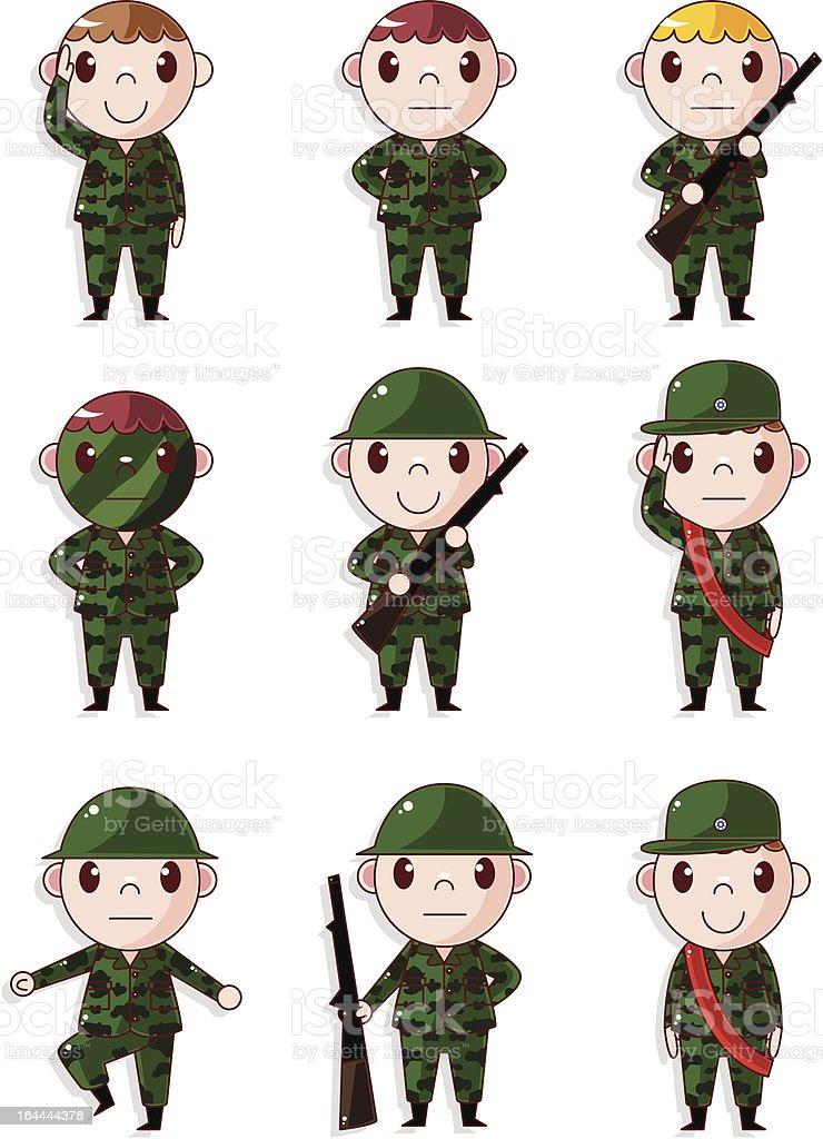 cartoon soldier boy icons set royalty-free stock vector art