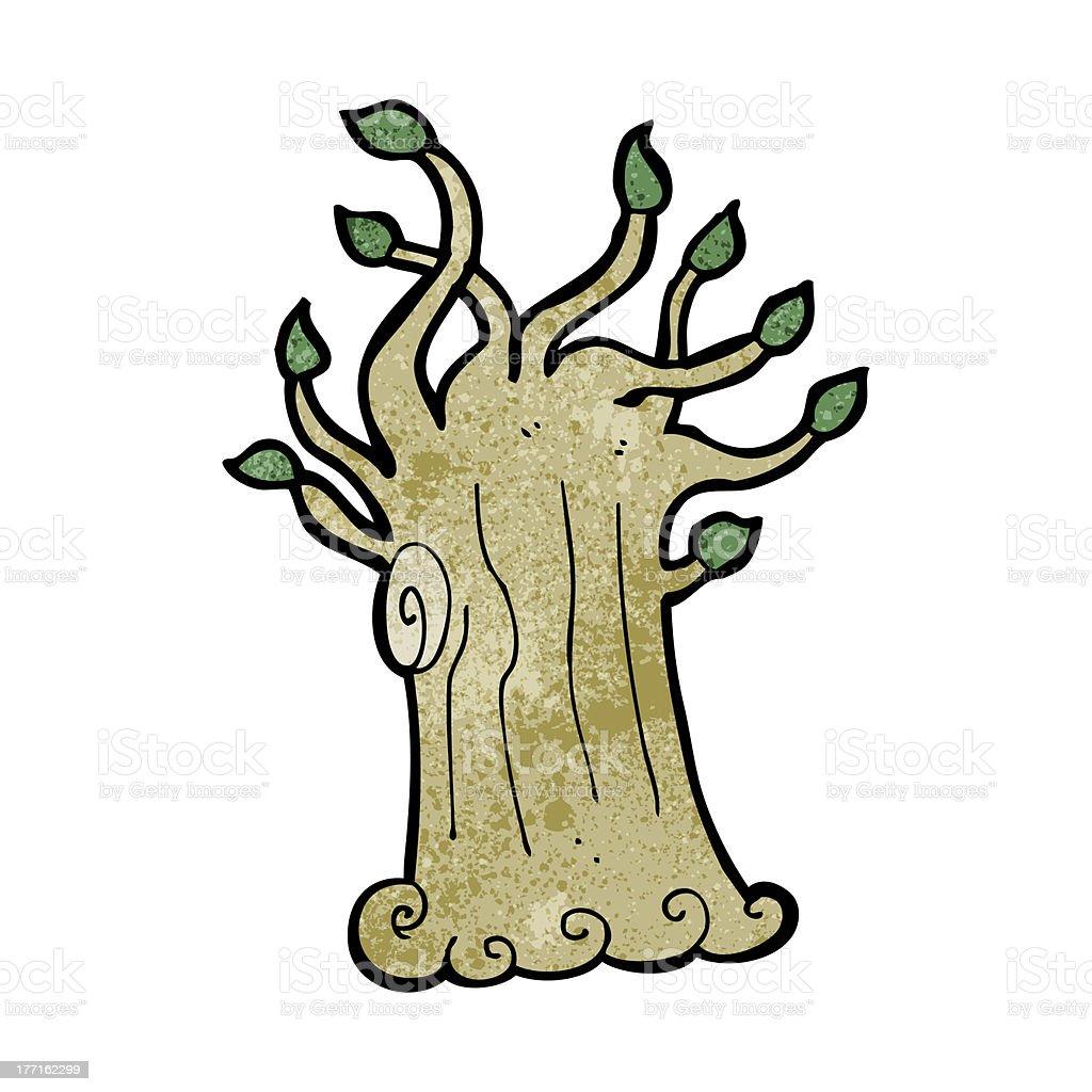 cartoon spooky tree vector art illustration