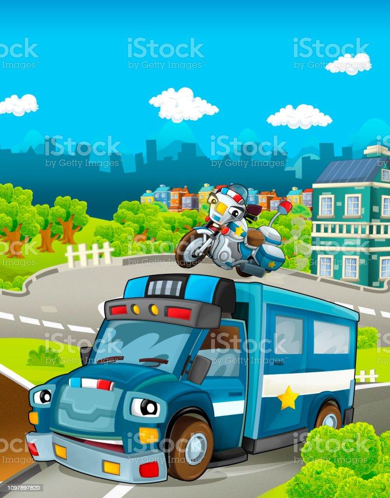 Stade De Dessin Anime Avec Police Differents Vehicules Camion Et