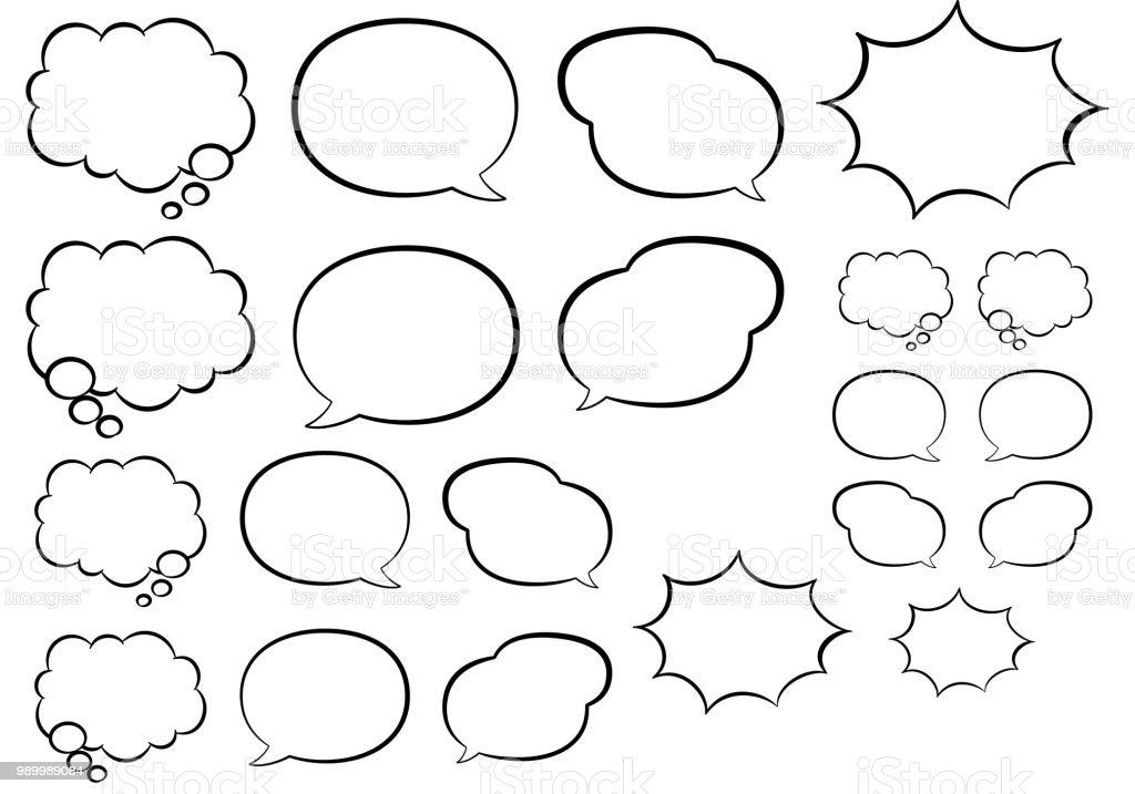 Cartoon style speech bubble icon set vector art illustration