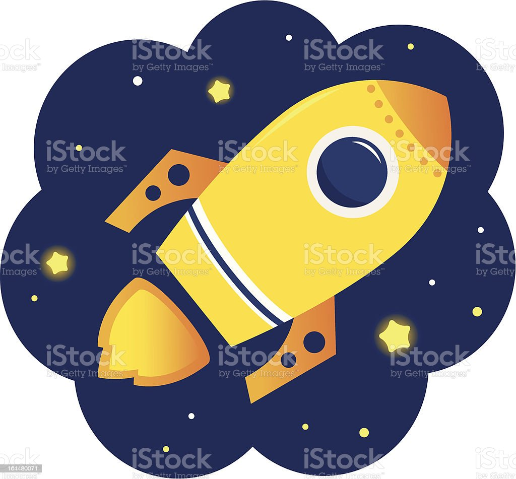 Cartoon stylized Rocket in space with stars royalty-free stock vector art