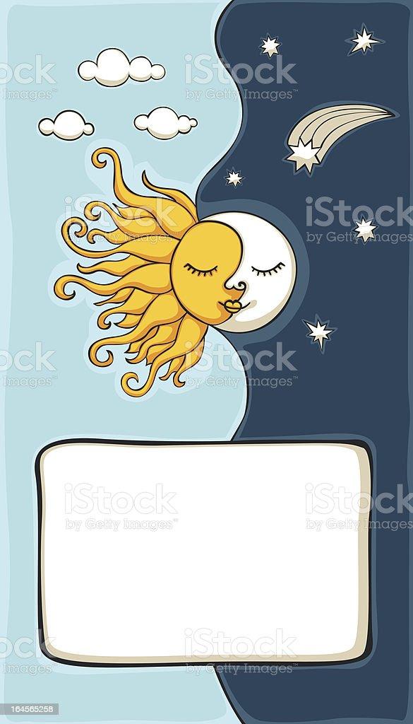 Ilustración De Dibujos Animados De Sol Y Luna De Fondo Y Más Banco