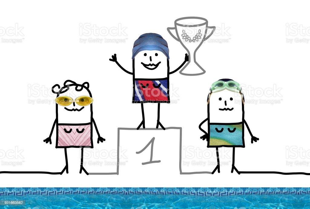 Fille de champion de natation dessin anim sur podium avec - Dessin podium ...