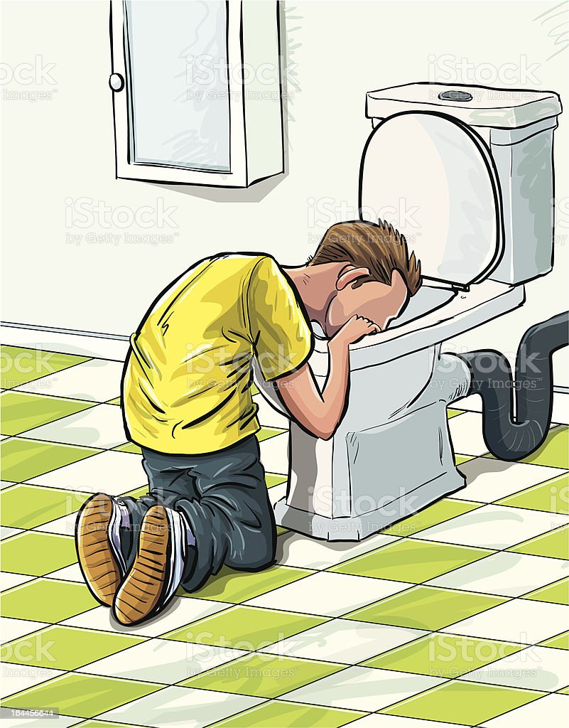 Cartoon teenager sick in toilet after drinking to much. royalty-free cartoon teenager sick in toilet after drinking to much stock vector art & more images of addict