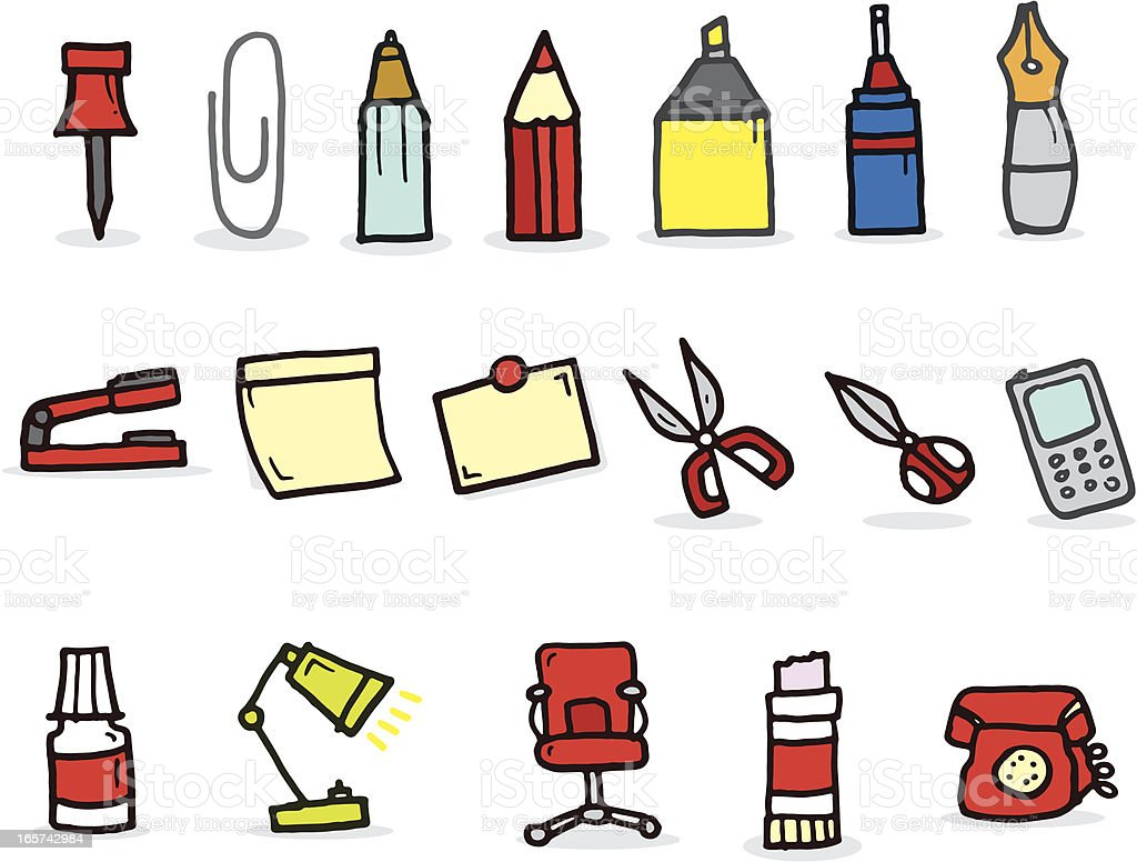 cartoon things found in the office stock vector art more