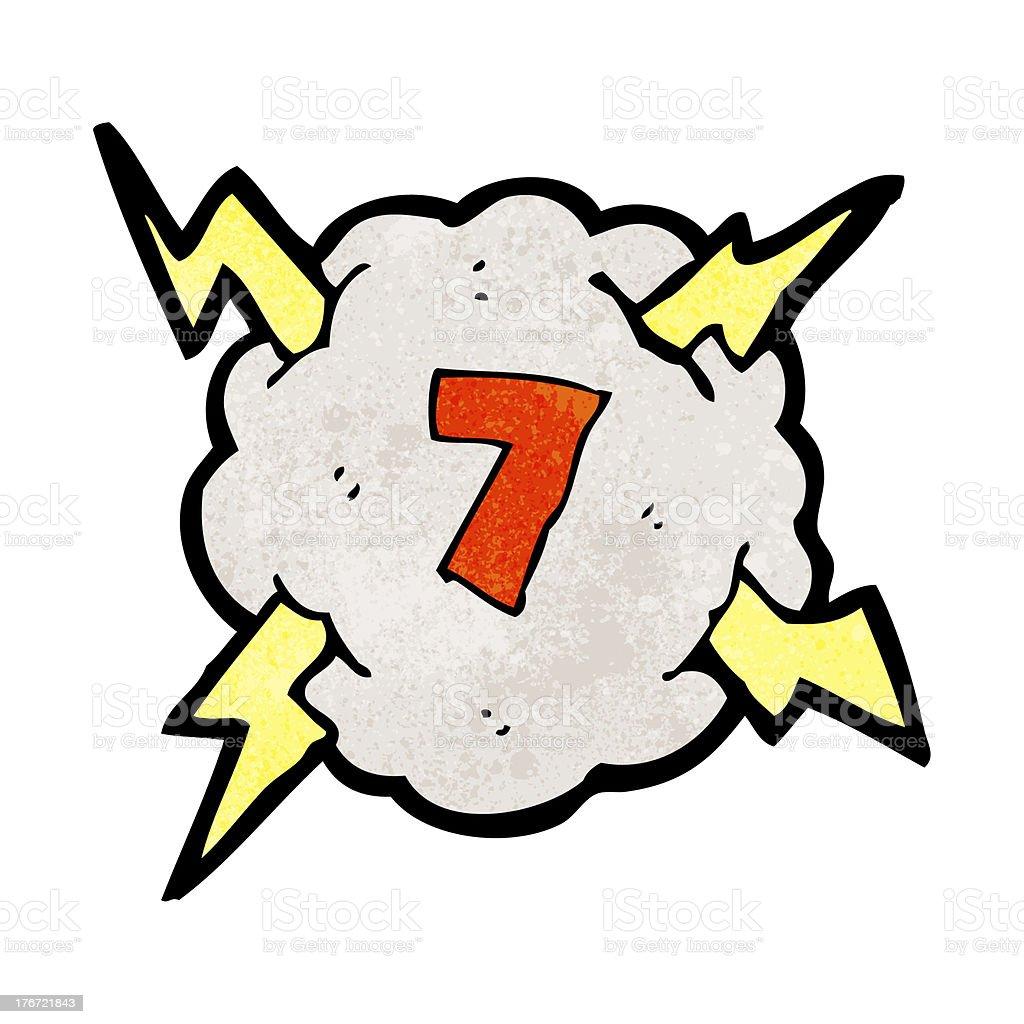 Vetores De Desenhos De Nuvem De Trovao Com Numero 7 E Mais Imagens
