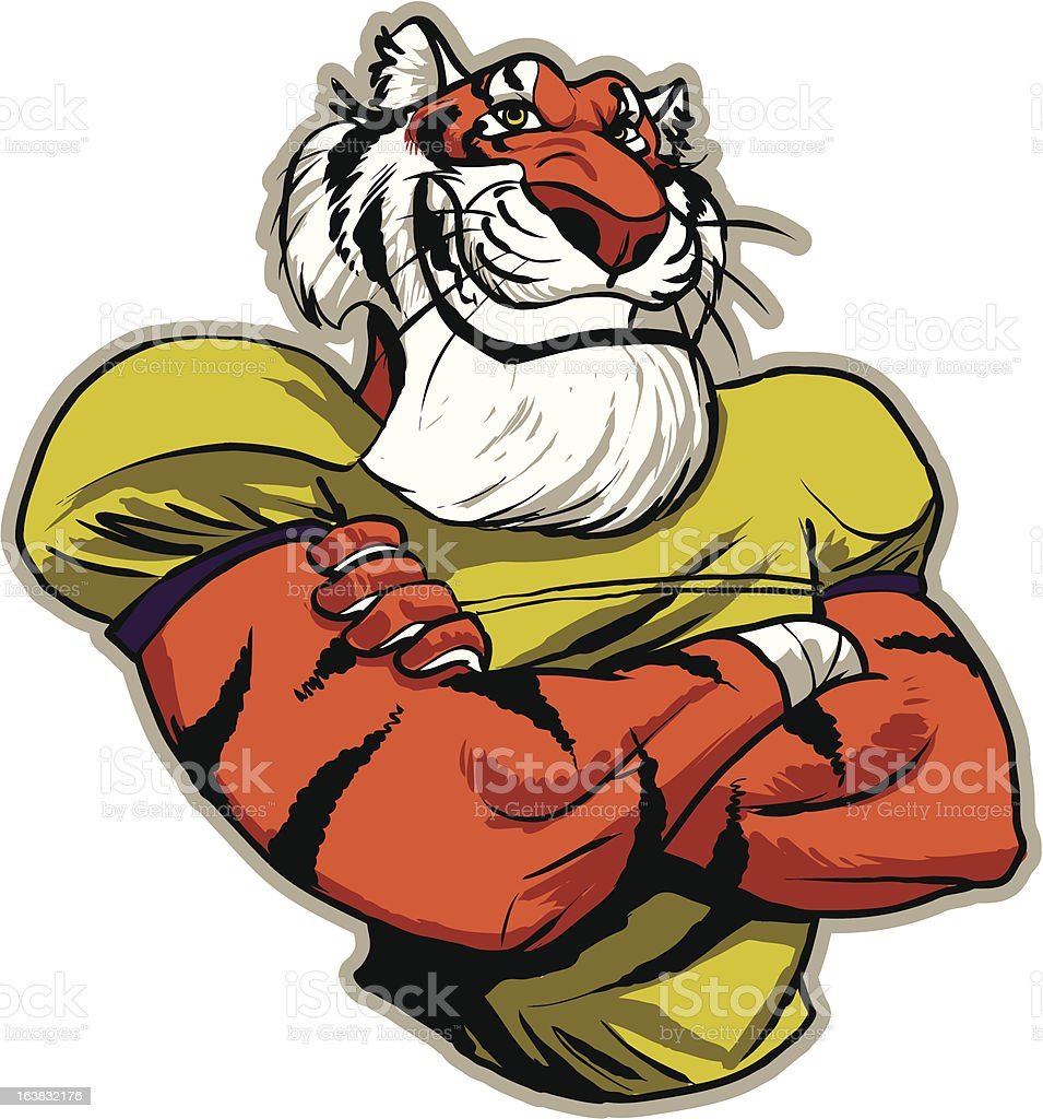 cartoon tiger football mascot stock vector art 163832176 istock