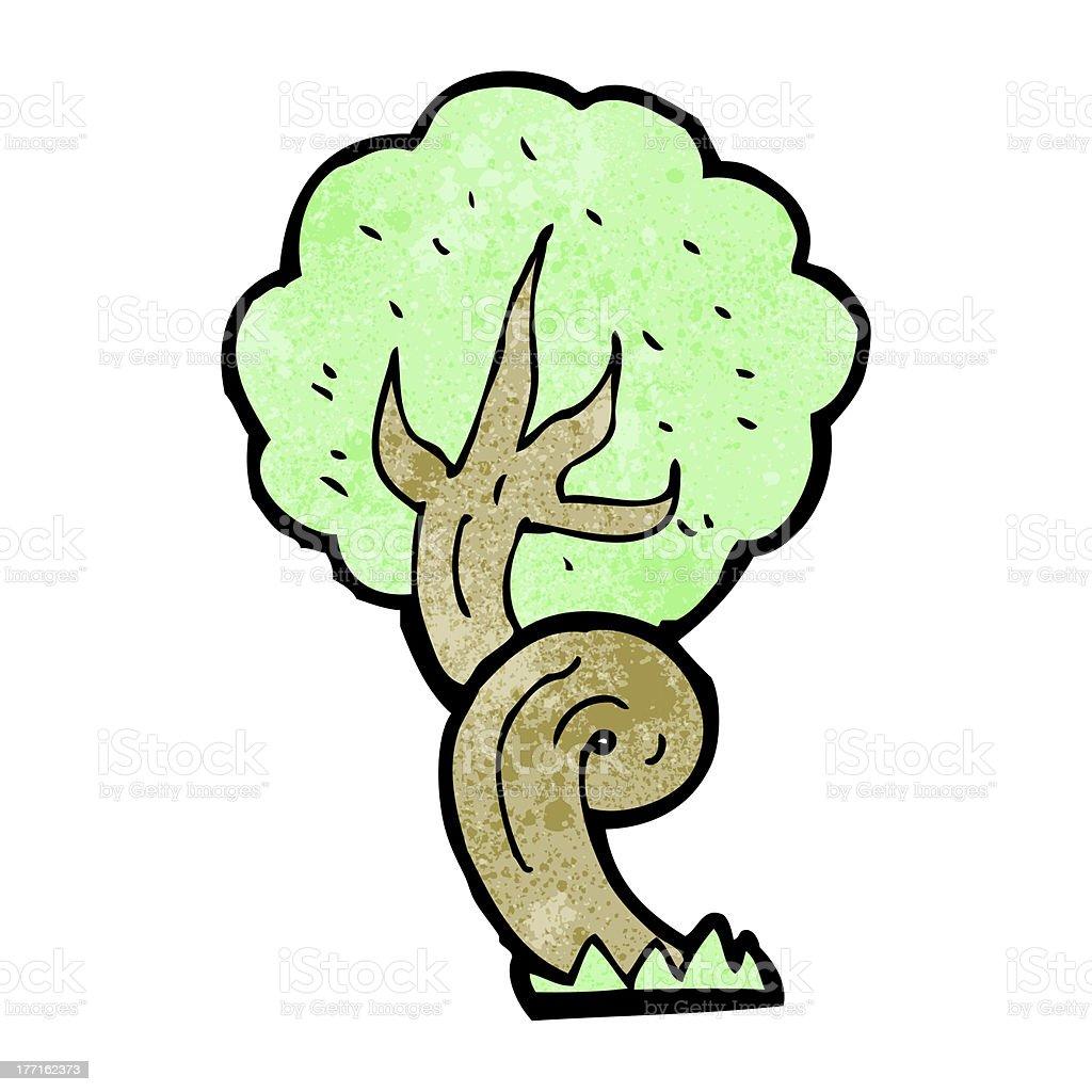 cartoon twisty tree vector art illustration