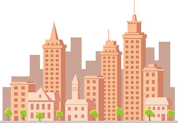 cartoon vector construction town vector art illustration