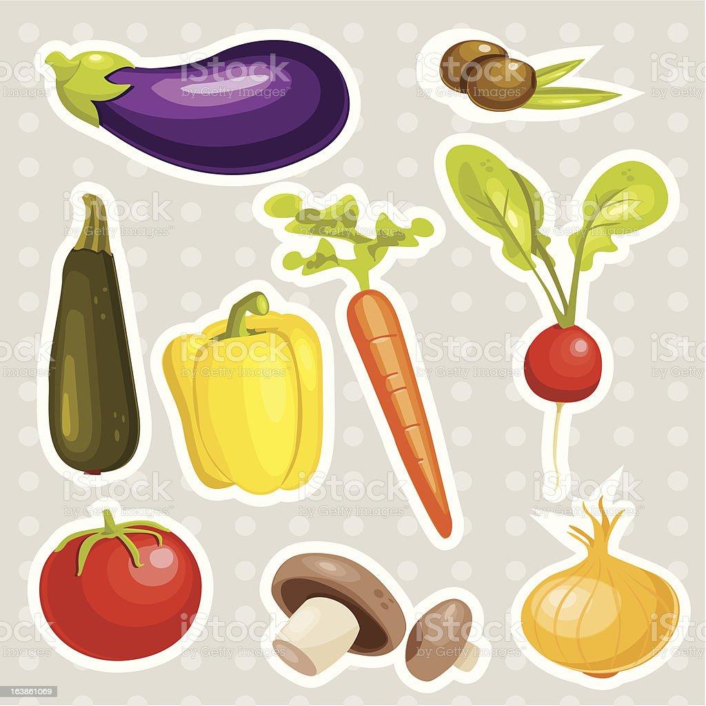 Cartoon vegetables stickers royalty-free stock vector art