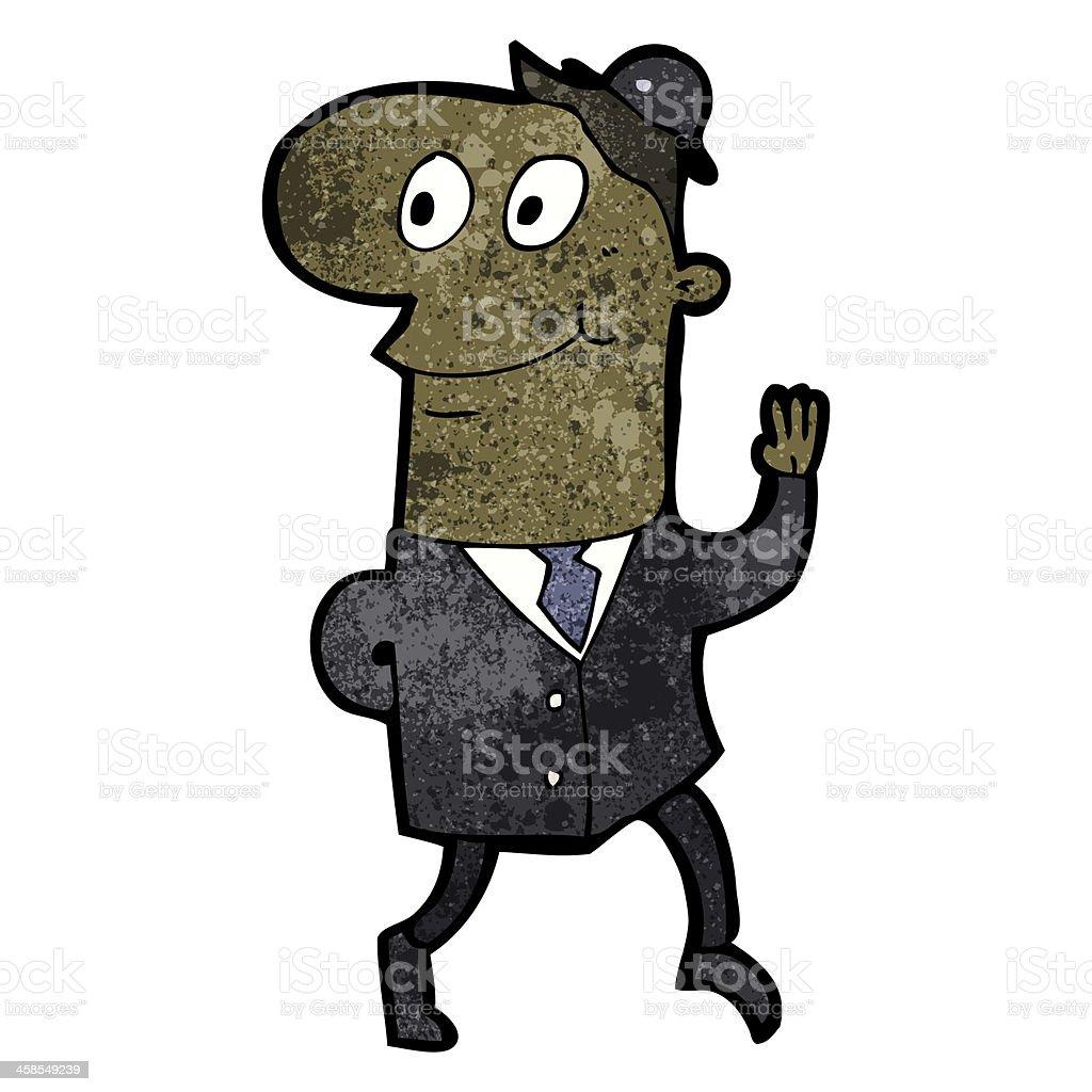 cartoon waving businessman royalty-free stock vector art
